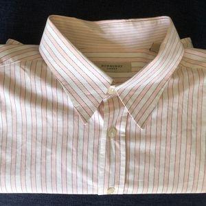 Burberry London Mens Pink White Striped Shirt